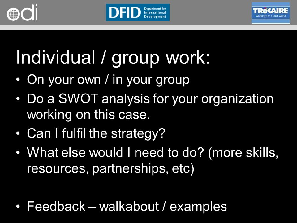 Individual / group work: