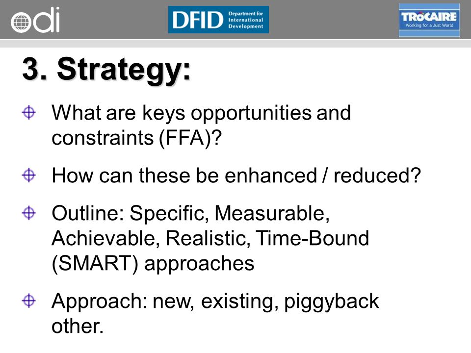 3. Strategy: What are keys opportunities and constraints (FFA)