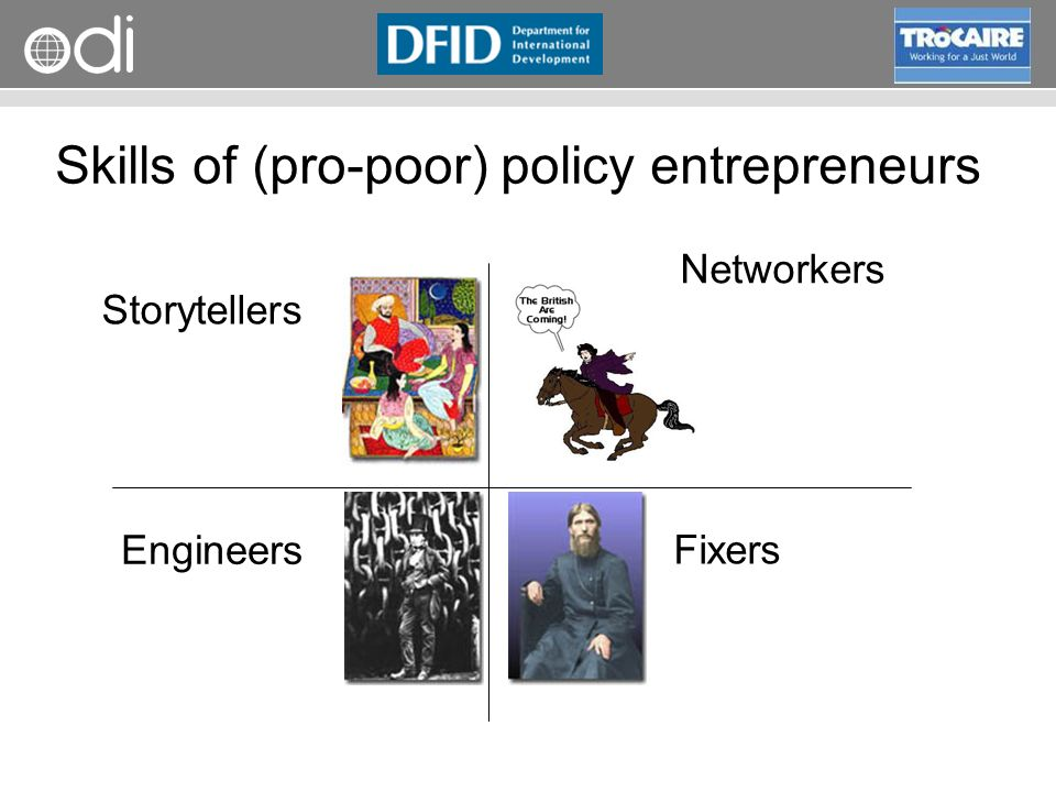 Skills of (pro-poor) policy entrepreneurs