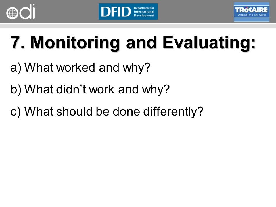 7. Monitoring and Evaluating: