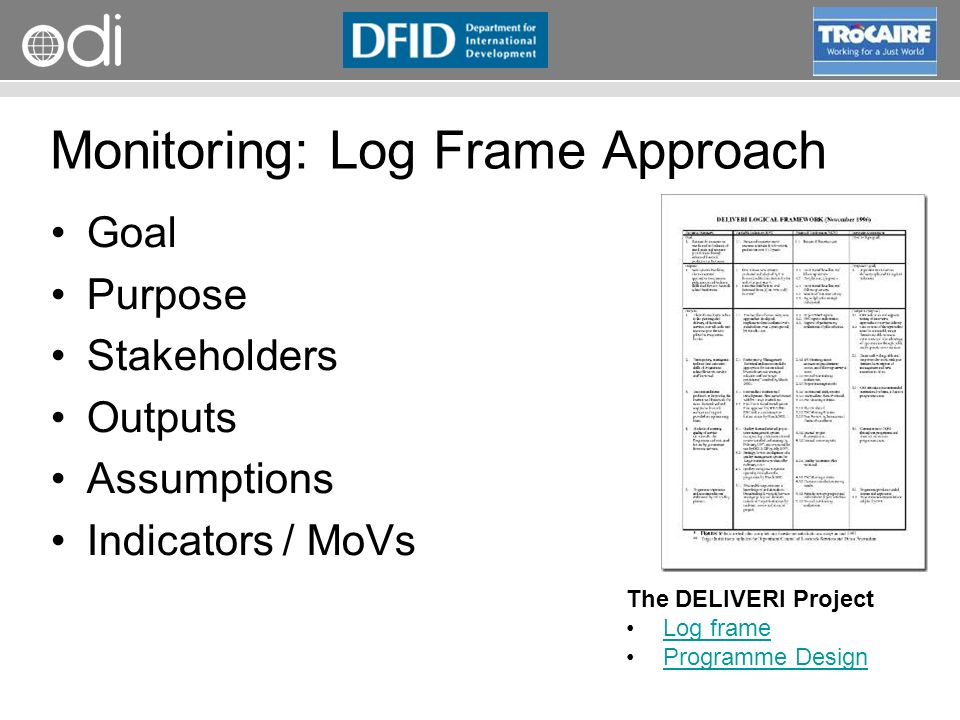 Monitoring: Log Frame Approach