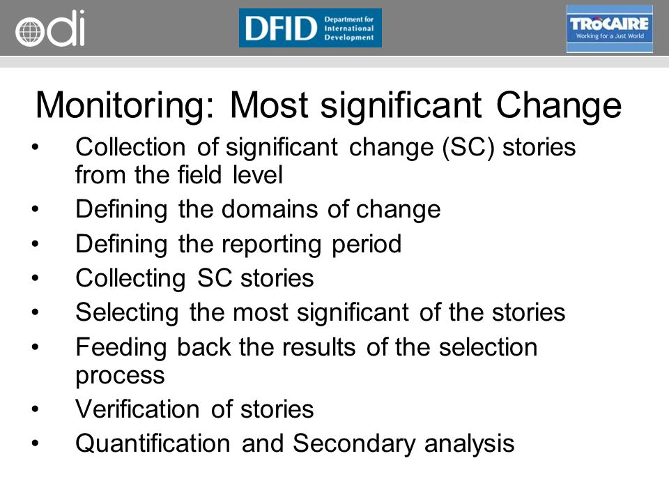 Monitoring: Most significant Change