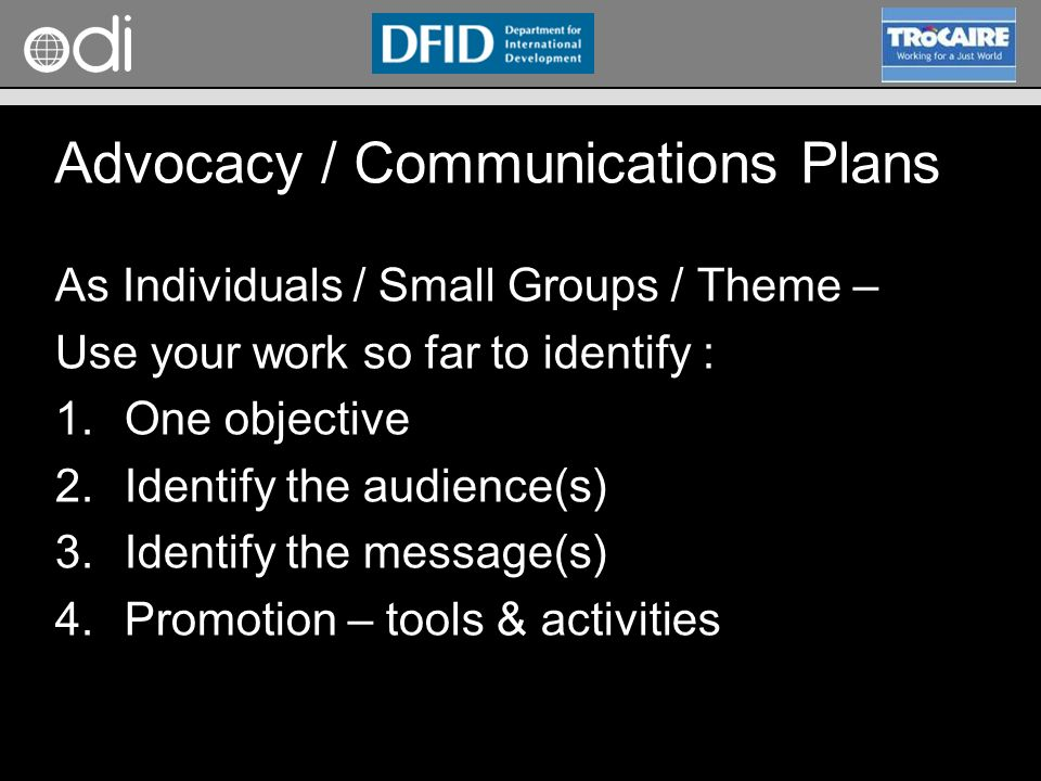 Advocacy / Communications Plans