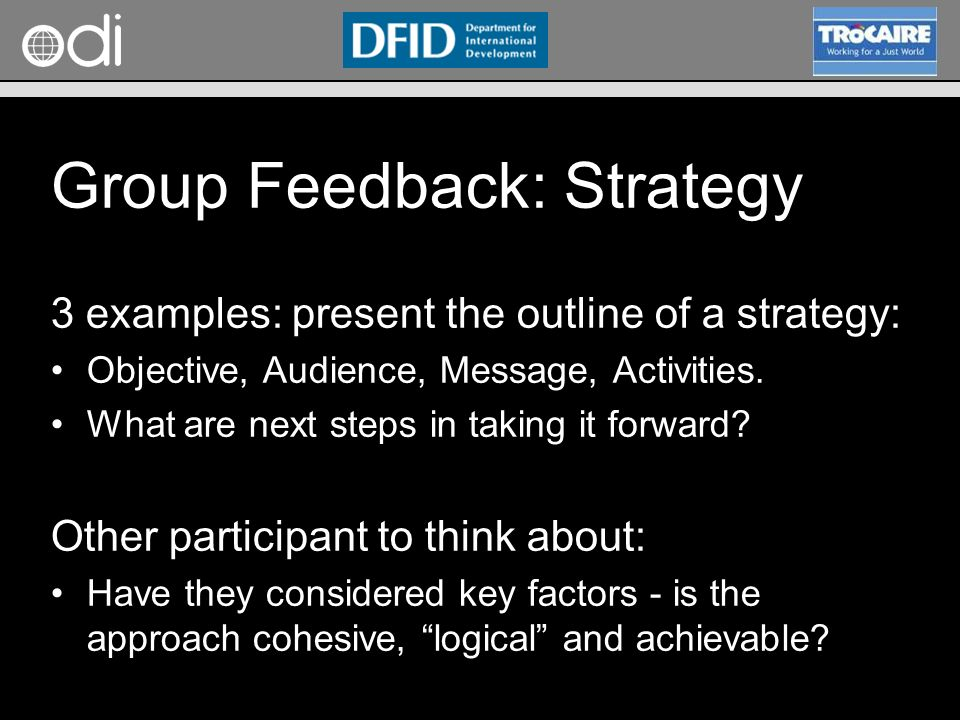 Group Feedback: Strategy
