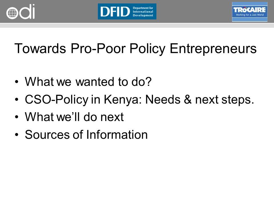 Towards Pro-Poor Policy Entrepreneurs