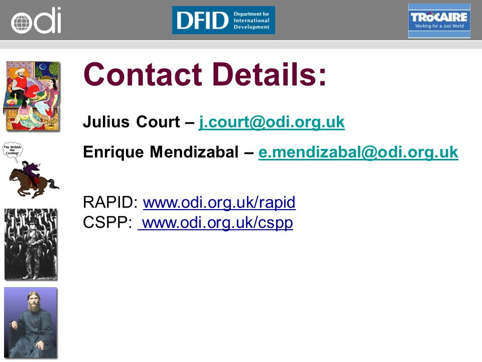 Contact Details: Julius Court – j.court@odi.org.uk
