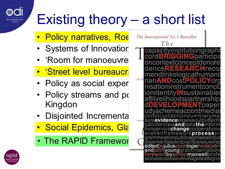 Existing theory – a short list