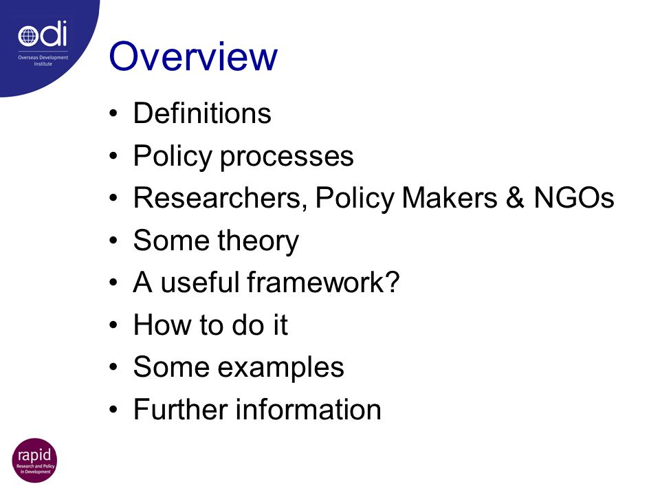 Overview Definitions Policy processes