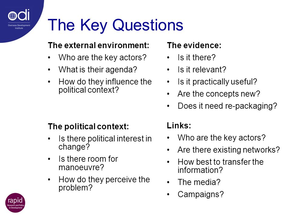 The Key Questions The external environment: Who are the key actors