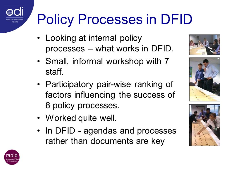Policy Processes in DFID