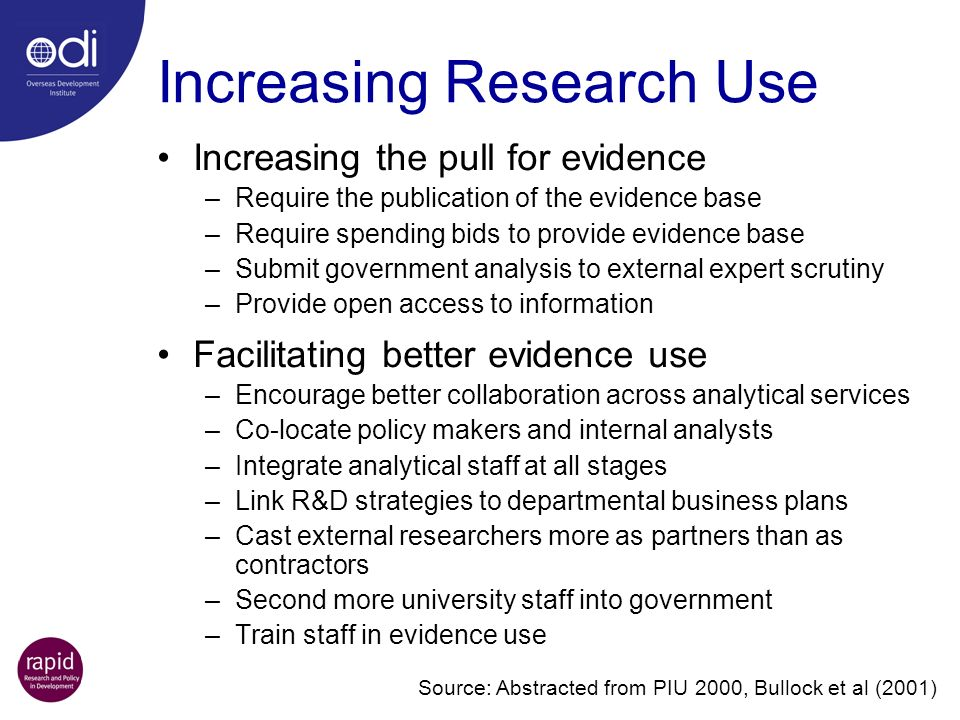 Increasing Research Use