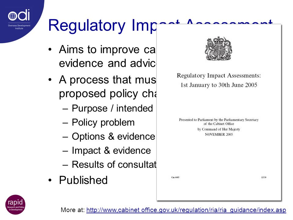 Regulatory Impact Assessment