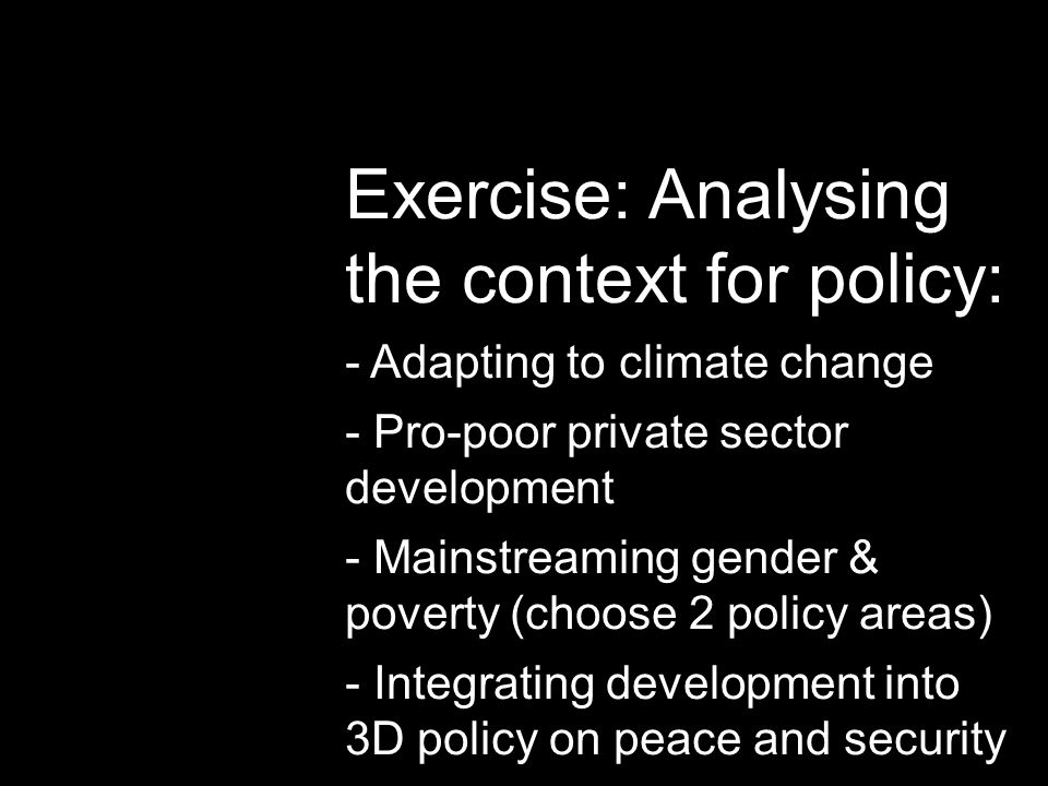 Exercise: Analysing the context for policy: