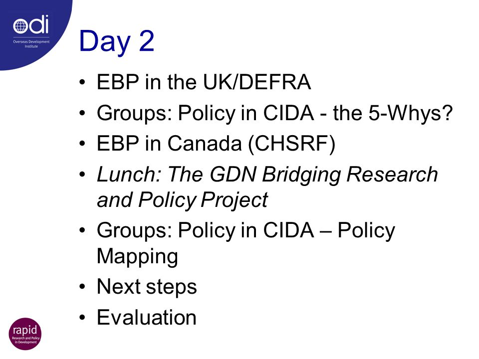 Day 2 EBP in the UK/DEFRA Groups: Policy in CIDA - the 5-Whys
