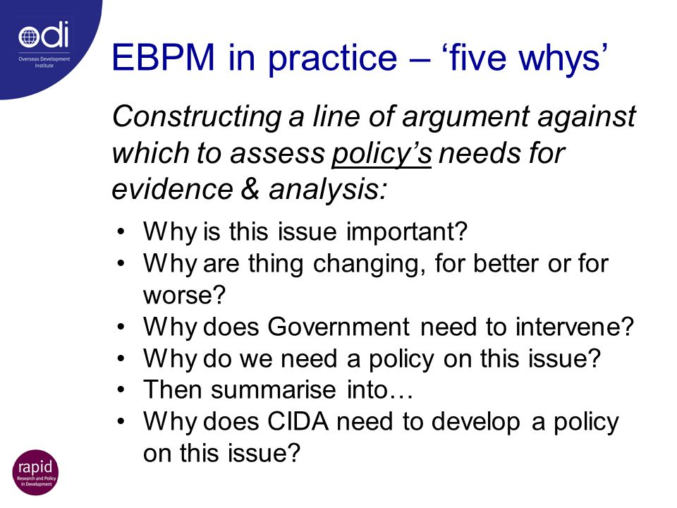 EBPM in practice – 'five whys'