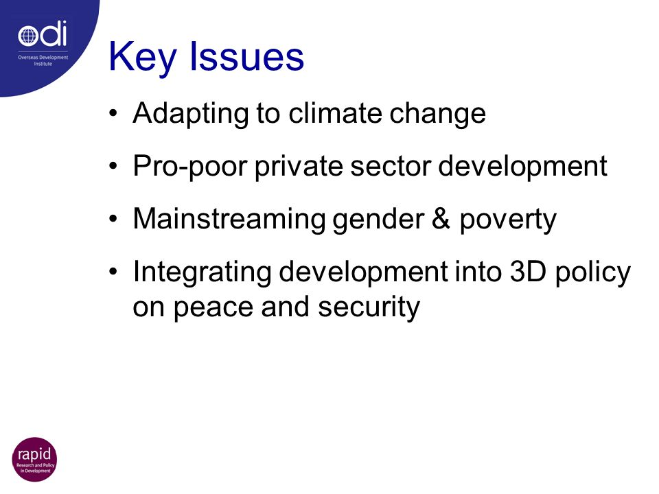 Key Issues Adapting to climate change