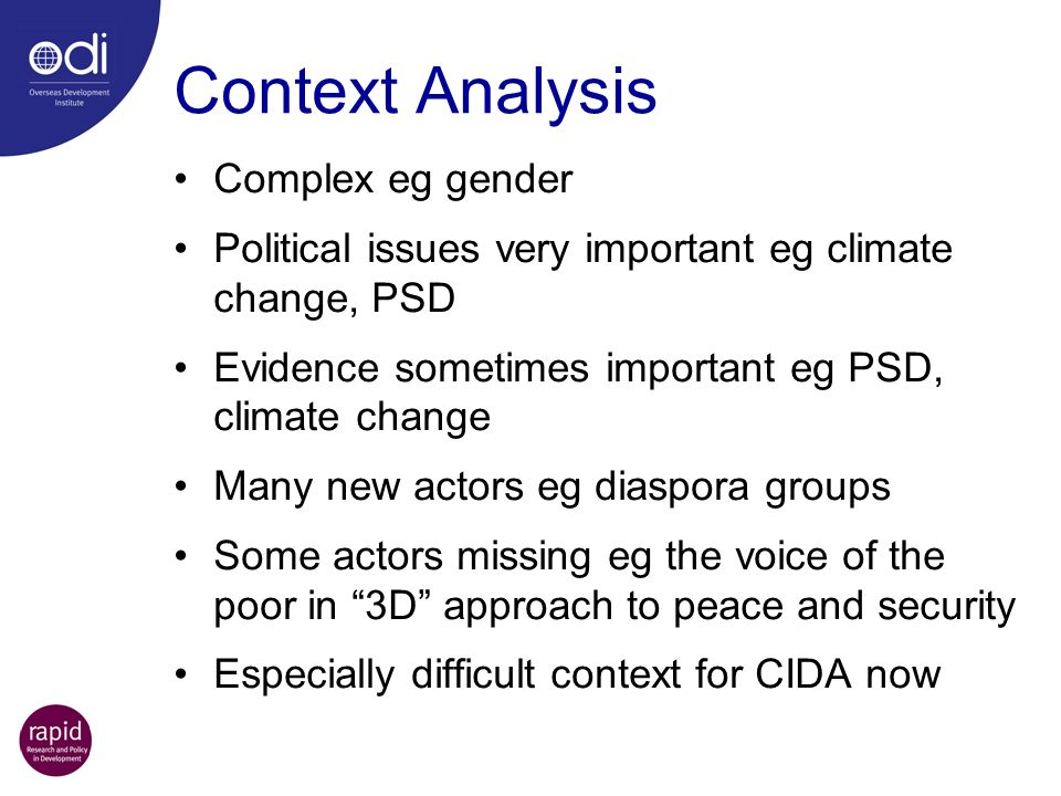 Context Analysis Complex eg gender