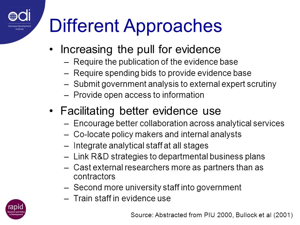 Different Approaches Increasing the pull for evidence