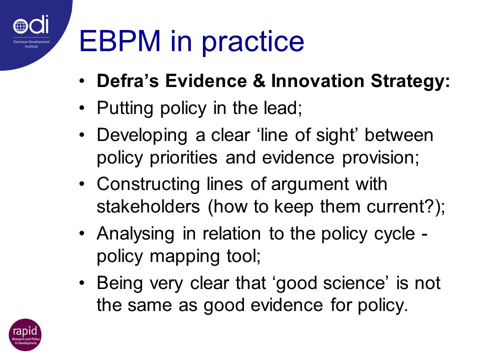 EBPM in practice Defra's Evidence & Innovation Strategy: