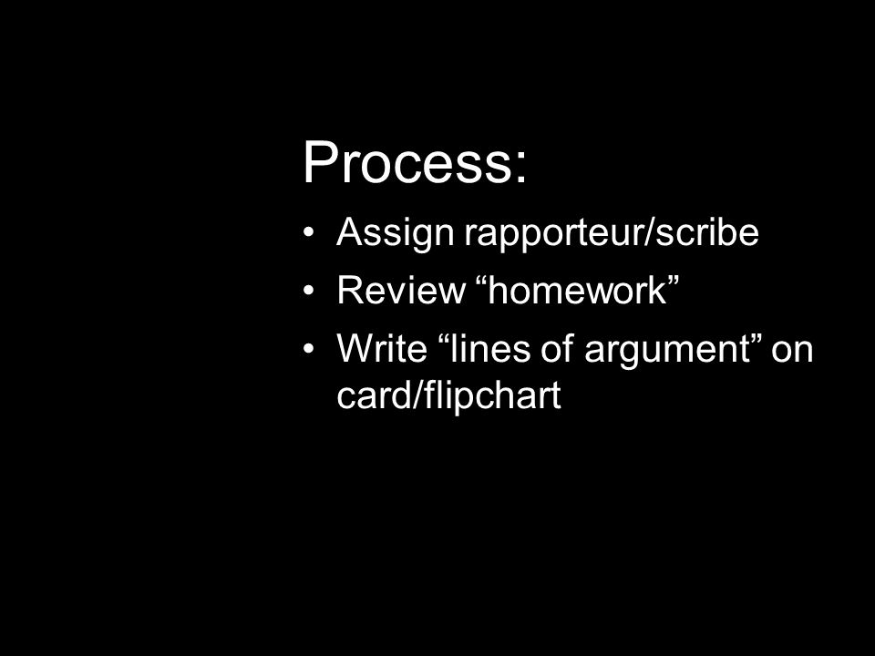 Process: Assign rapporteur/scribe Review homework