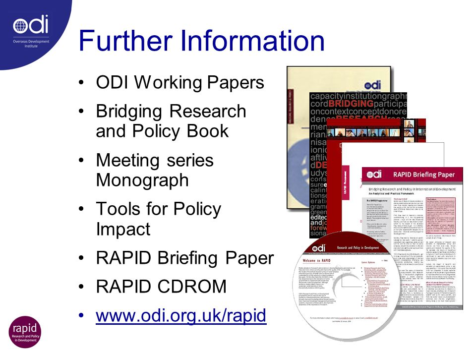 Further Information ODI Working Papers