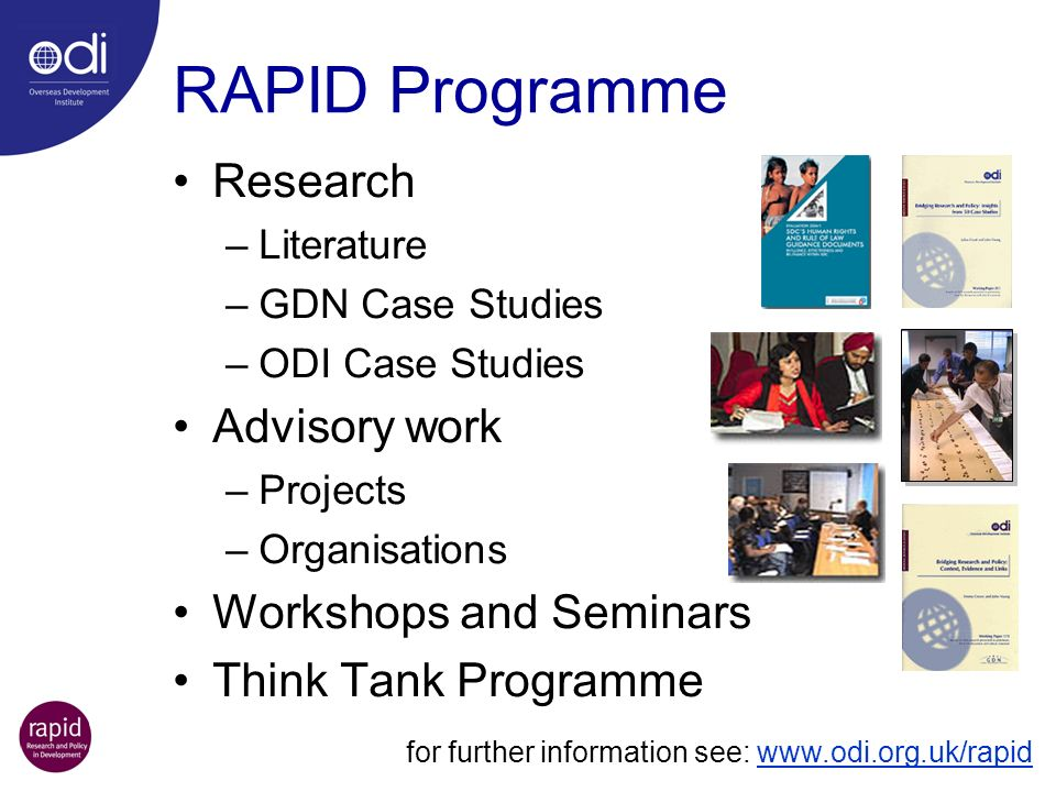 RAPID Programme Research Advisory work Workshops and Seminars