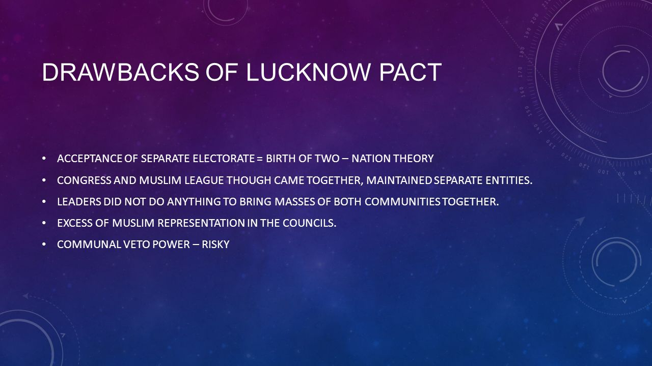 a description of the lucknow pact Lucknow pact lucknow pact refers to an agreement between the indian national congress and themuslim league in 1916, muhammed ali jinnah, a member of the.
