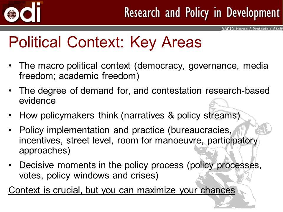 Political Context: Key Areas
