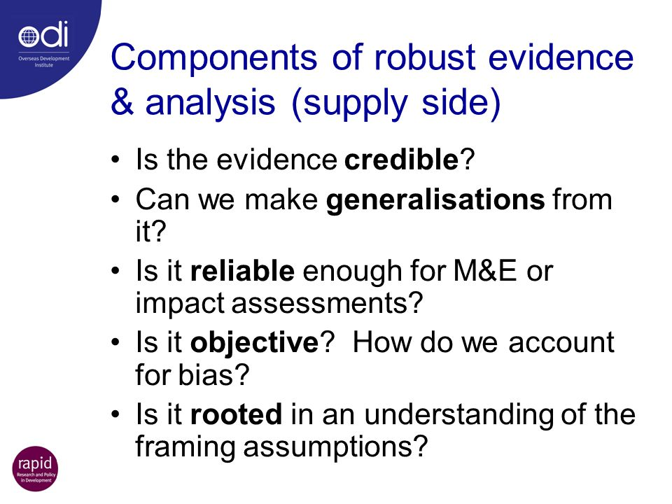 Components of robust evidence & analysis (supply side)