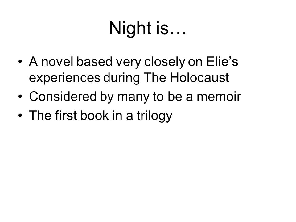 "an analysis of the holocaust in the novel night by elie wiesel 485 quotes from elie wiesel: , holocaust, war, witness 450 likes like ""when a ― elie wiesel, night 293 likes."