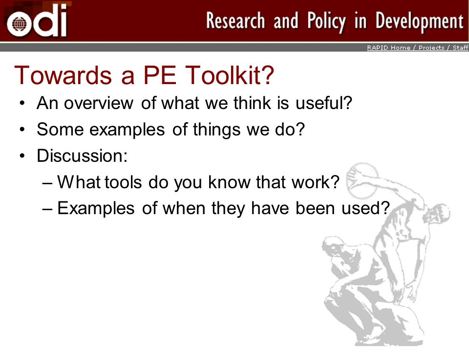 Towards a PE Toolkit An overview of what we think is useful