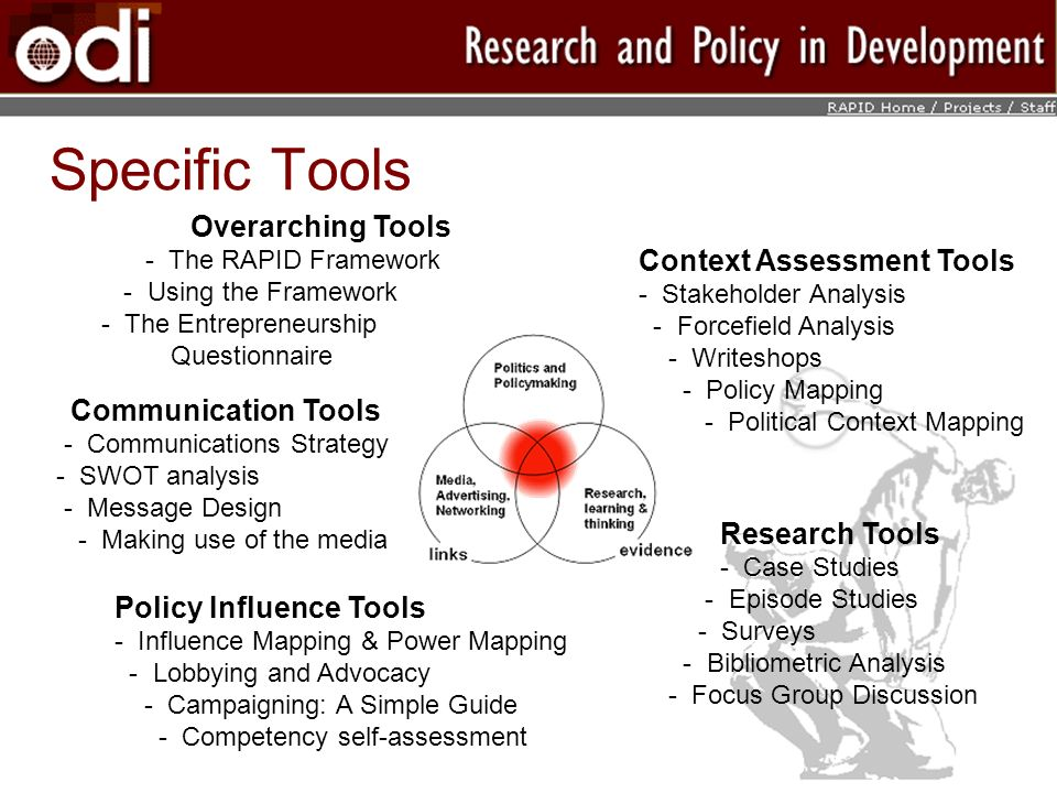 Specific Tools Overarching Tools Context Assessment Tools