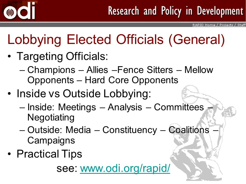 Lobbying Elected Officials (General)
