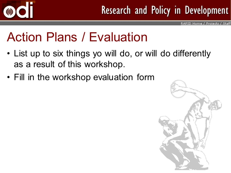 Action Plans / Evaluation