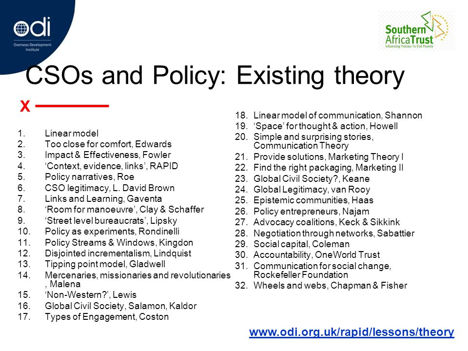 CSOs and Policy: Existing theory