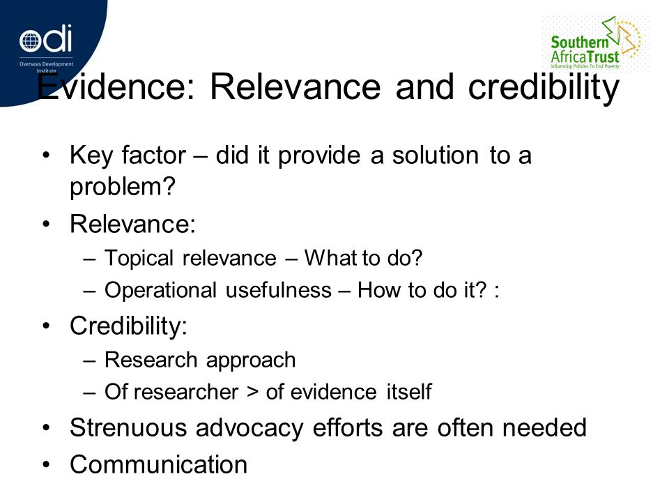 Evidence: Relevance and credibility