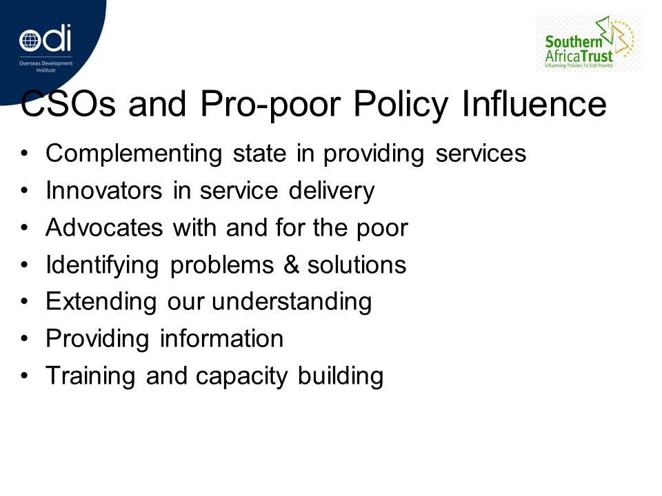 CSOs and Pro-poor Policy Influence