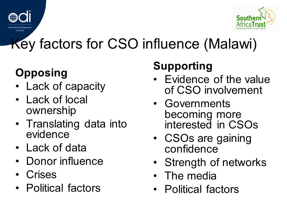 Key factors for CSO influence (Malawi)