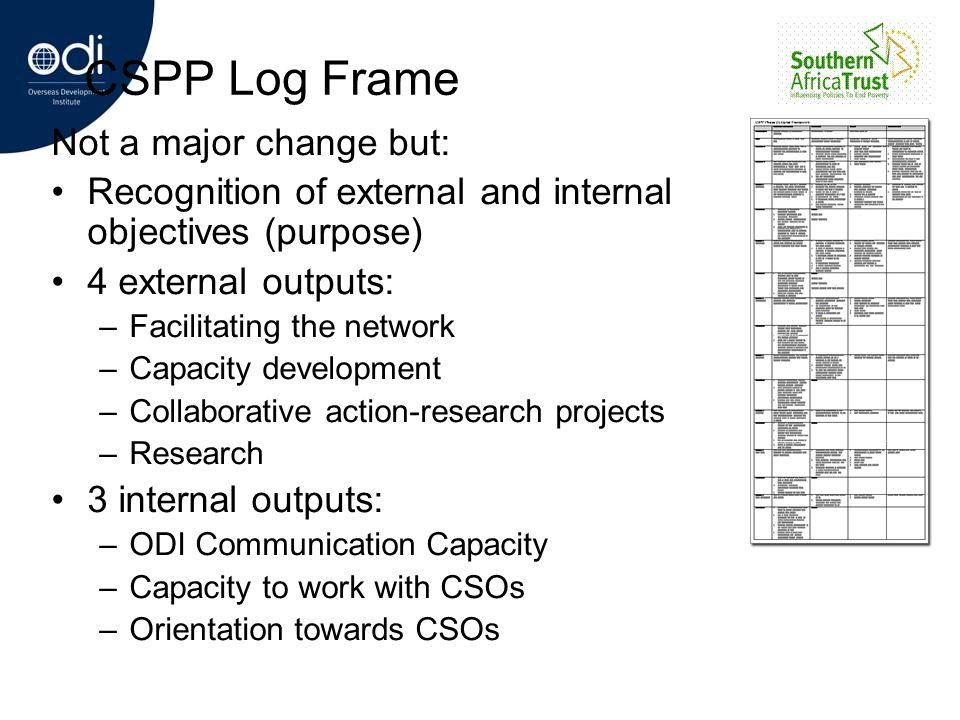CSPP Log Frame Not a major change but: