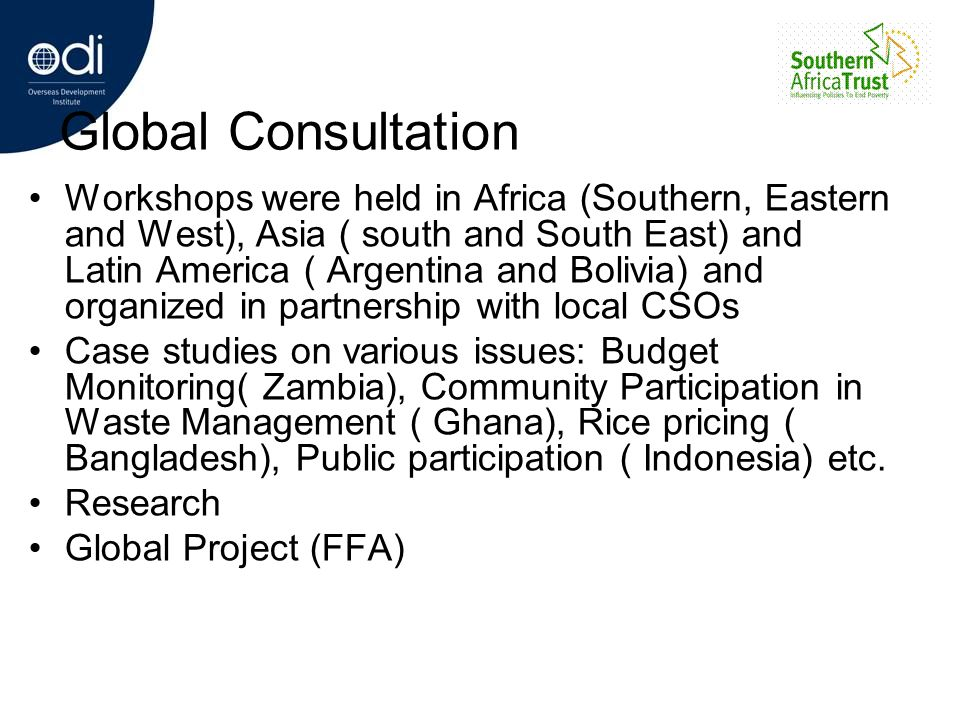 Global Consultation