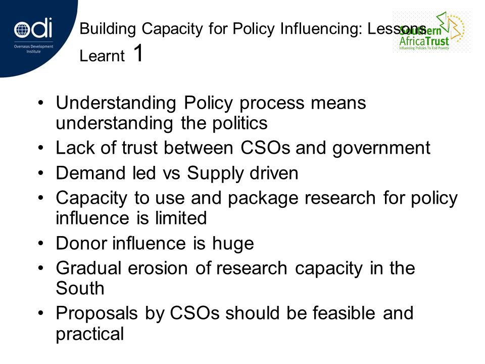 Building Capacity for Policy Influencing: Lessons Learnt 1