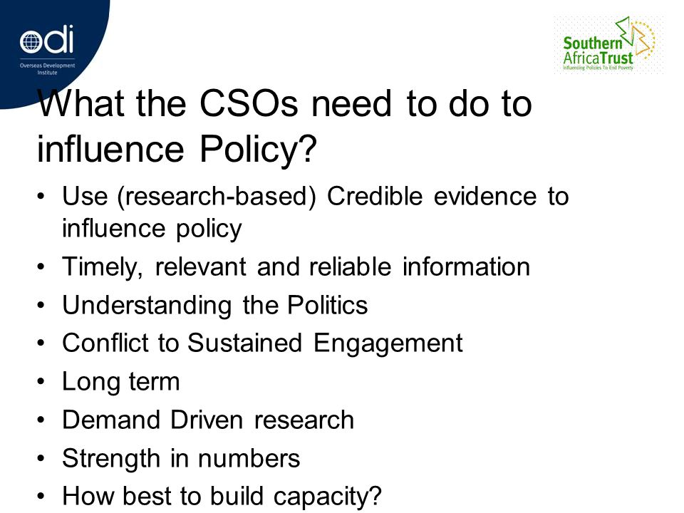 What the CSOs need to do to influence Policy