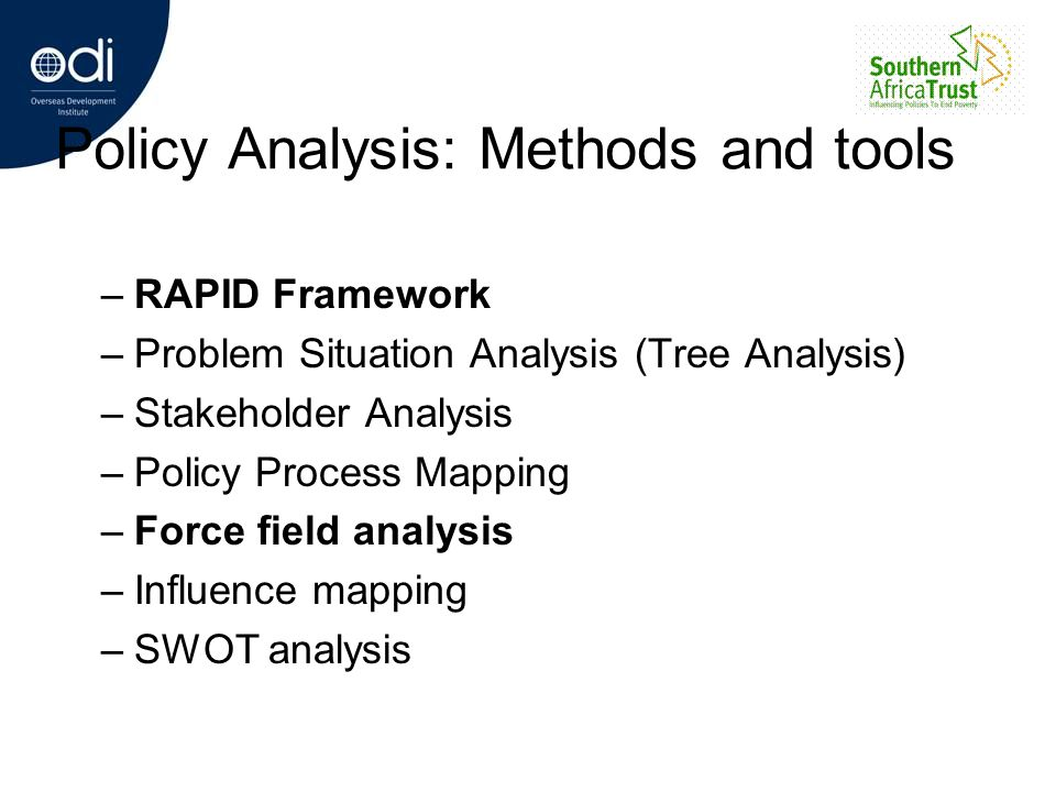 Policy Analysis: Methods and tools