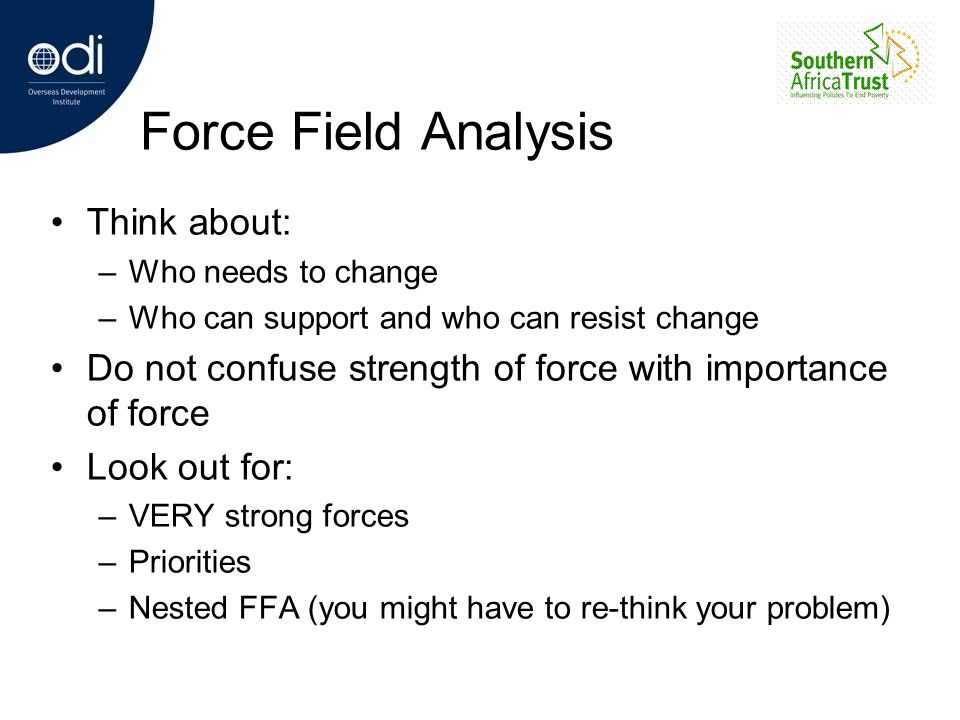 Force Field Analysis Think about: