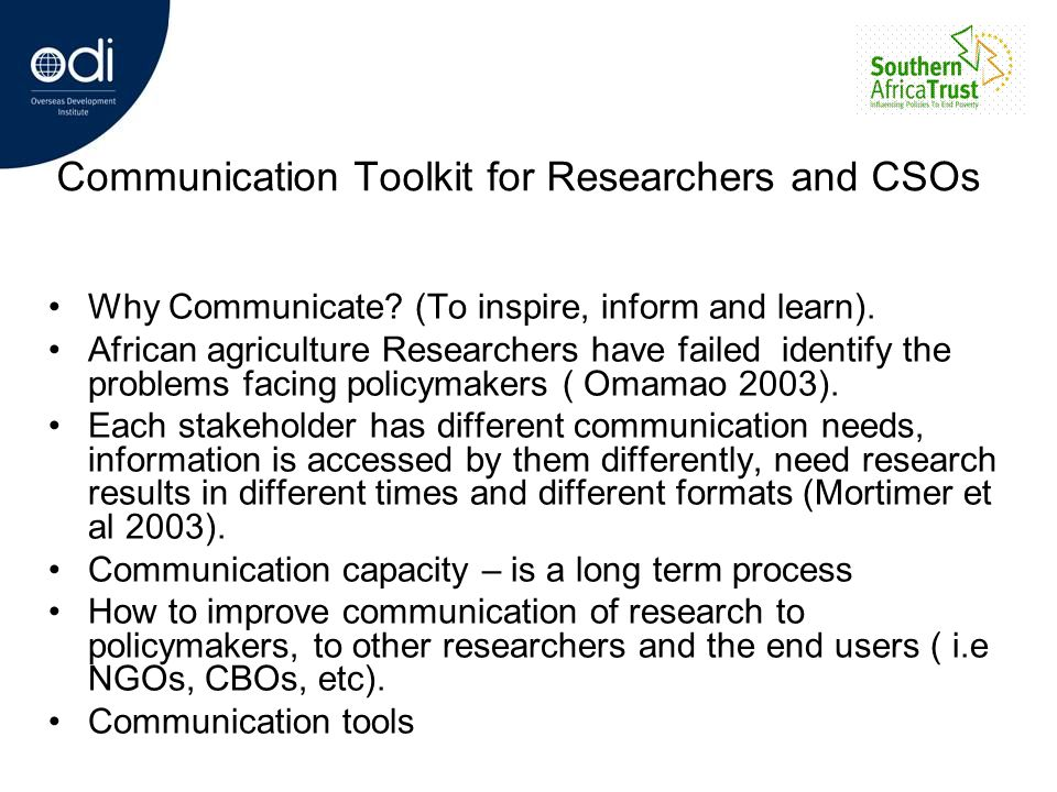 Communication Toolkit for Researchers and CSOs