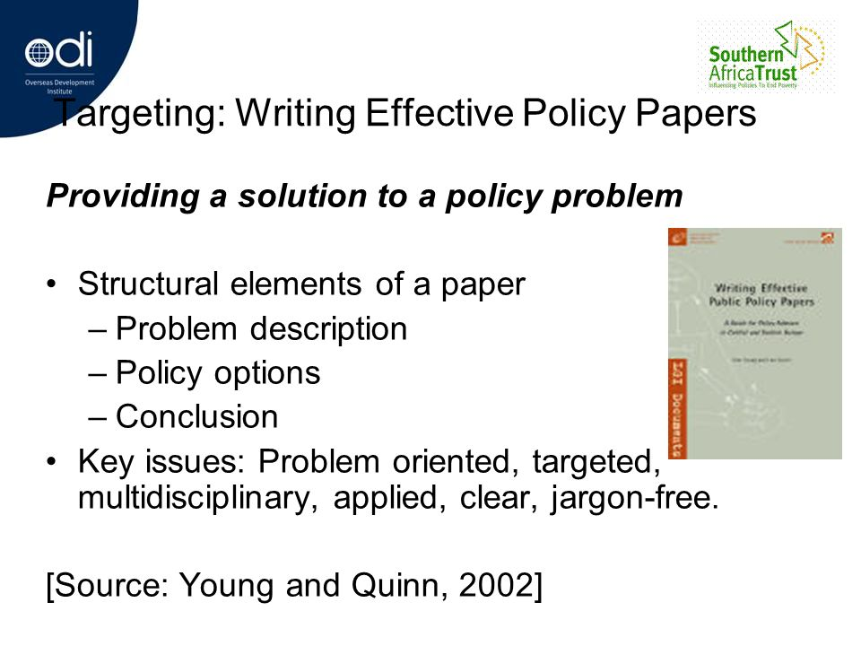 Targeting: Writing Effective Policy Papers