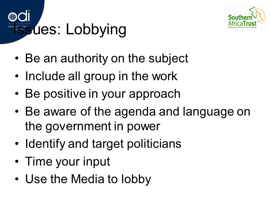 Issues: Lobbying Be an authority on the subject