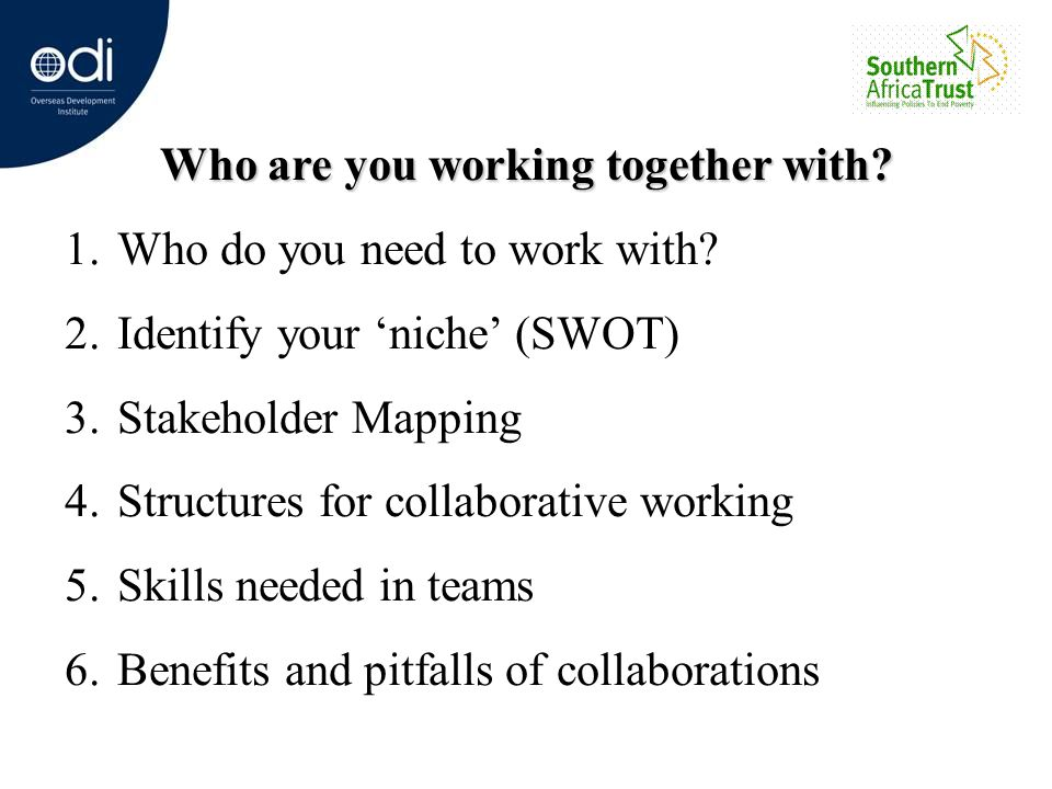 Who are you working together with