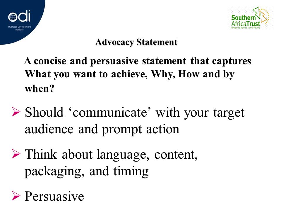 Should 'communicate' with your target audience and prompt action