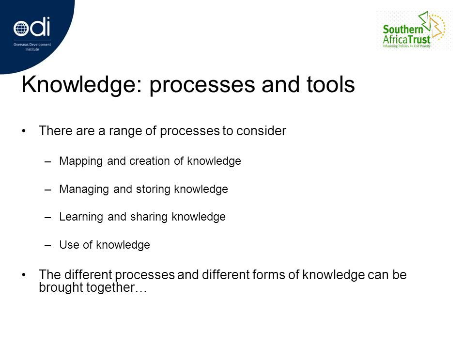 Knowledge: processes and tools